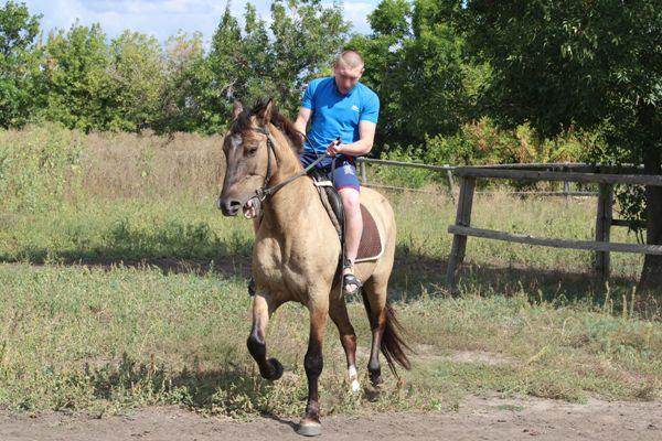 мужчина катается на лошади