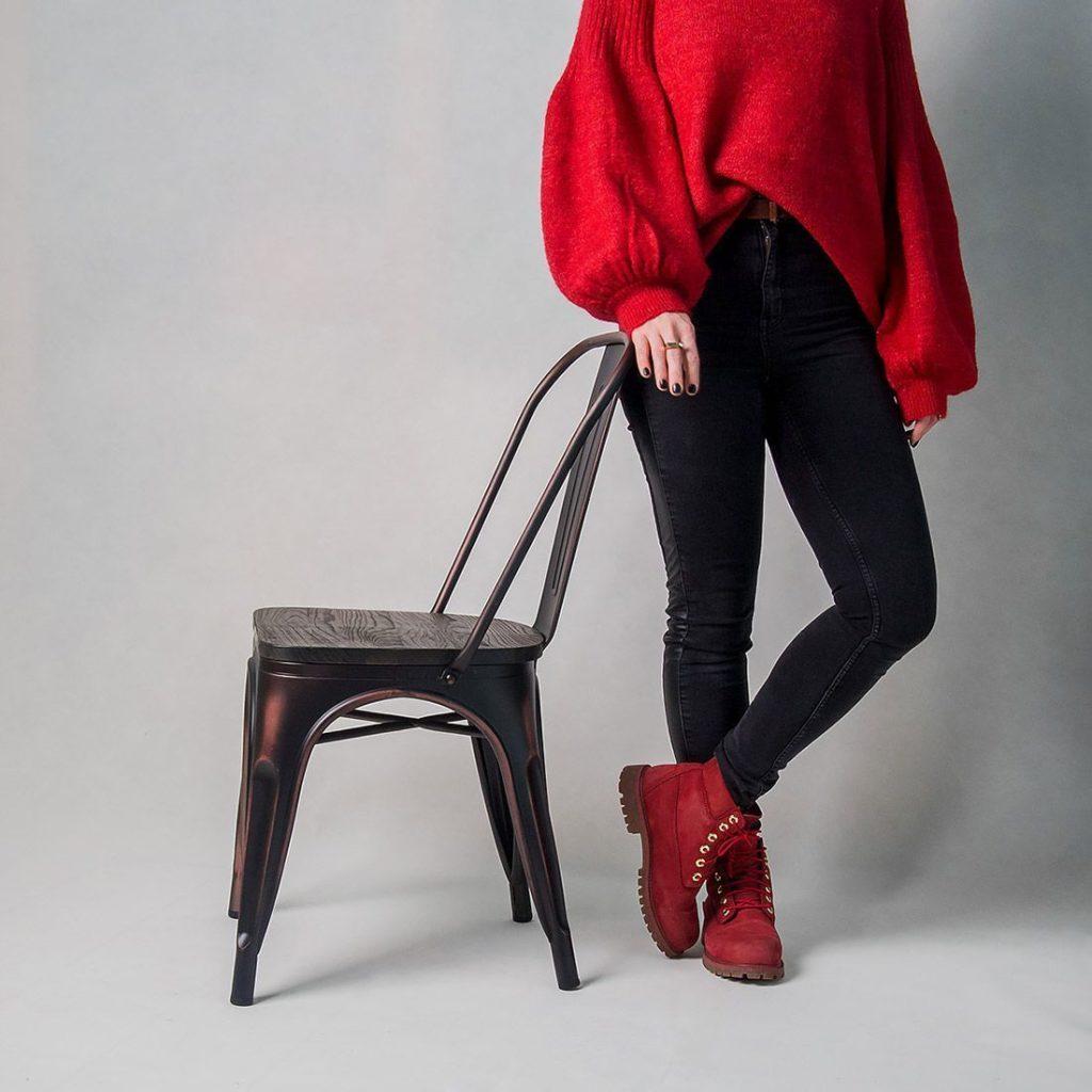 металлический барный стул Tolix с деревянным сидением