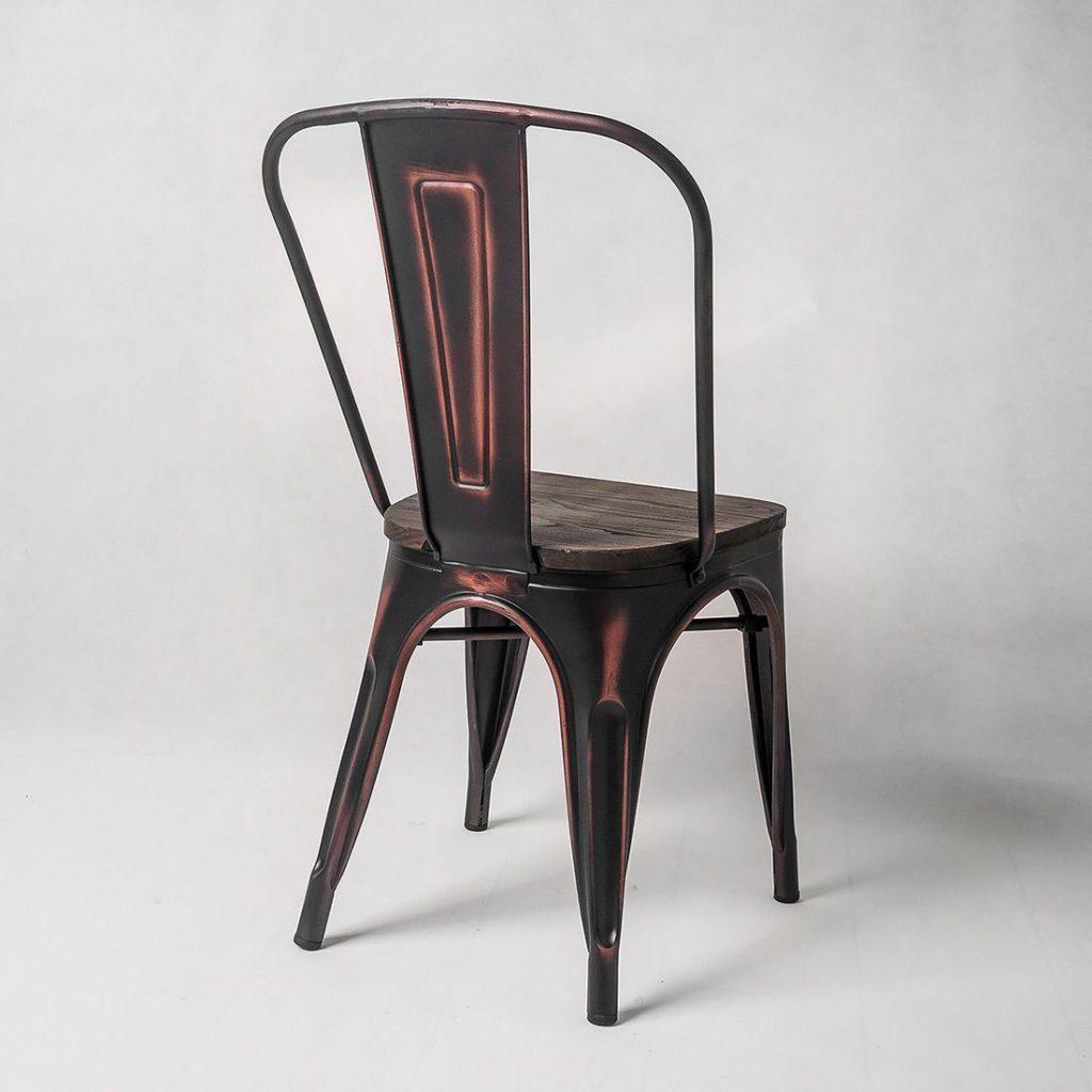 металлический барный стул Tolix с высокой спинкой (черный потертый)