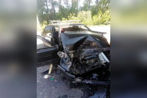 разбитая ваз 2115 авария с JCB
